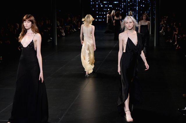 Models walk the runway during the Saint Laurent show as part of the Paris Fashion Week Womenswear Spring/Summer 2016 on October 5, 2015 in Paris, France. (Photo by Dominique Charriau/Getty Images)
