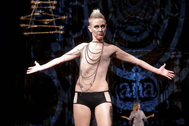 Vonn Jensen, a non binary transgender person, presents creations from the AnaOno collection, a show modeled by members of the group #Cancerland, during New York Fashion Week in Manhattan, New York, February 12, 2017. Jensen aims to increase visibility and awareness around the LGBTQ community and cancer. (Photo by Andrew Kelly/Reuters)