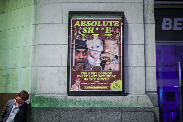 Promotional Ruby Lounge poster on High Street . Revellers out in Manchester City Centre in Manchester, UK on September 11, 2016. (Photo by Joel Goodman/London News Pictures)