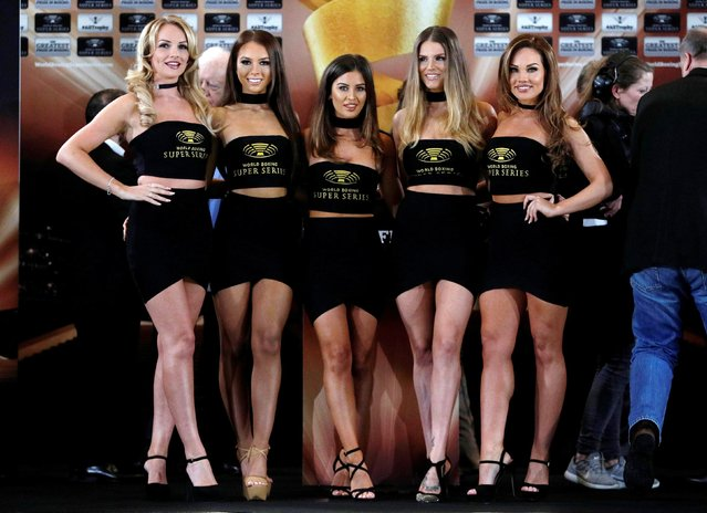 Ring girls pose after the George Groves and Chris Eubank Jr weigh-in at the Hilton Deansgate on February 16, 2018 in Manchester, England. (Photo by Lee Smith/Reuters/Action Images)