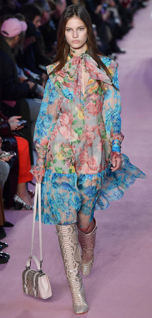 A model wears a creation as part of the Blumarine women's Fall/Winter 2018-2019 collection, presented during the Milan Fashion Week, in Milan, Italy, Friday, February 23, 2018. (Photo by Daniel Del Zennaro/ANSA via AP Photo)