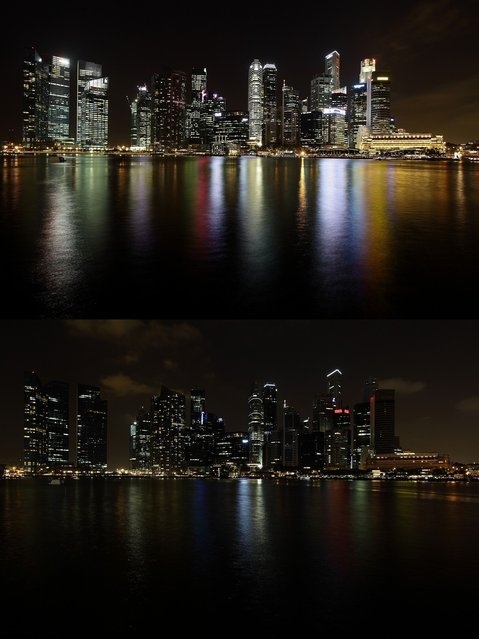 The Singapore city skyline is seen before (top) and after the lights were switched off to recognize Earth Hour on March 23, 2013 in Singapore, Singapore. Businesses and households around the world switch their lights off for an hour at 20:30 local time on March 23, to celebrate Earth Hour and raise awareness about climate change and renewable energy. Earth hour began in Australia in 2007 and is now celebrated in over 150 countries around the world. (Photo by Suhaimi Abdullah)