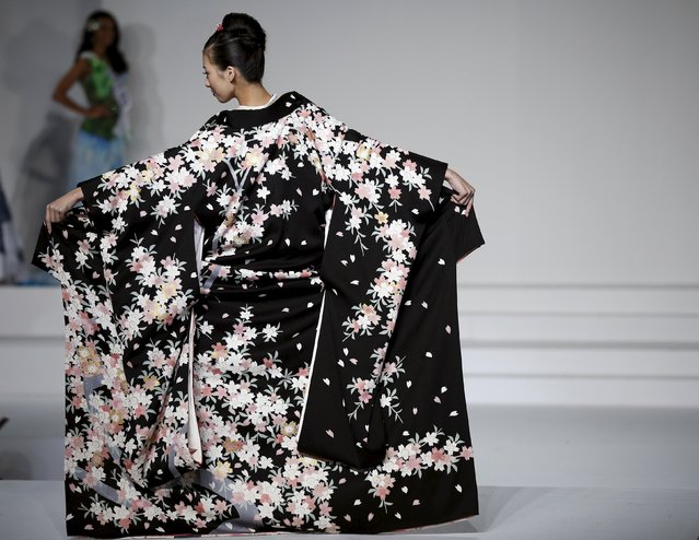 Arisa Nakagawa representing Japan poses in national dress during the 55th Miss International Beauty Pageant in Tokyo, Japan, November 5, 2015. (Photo by Toru Hanai/Reuters)
