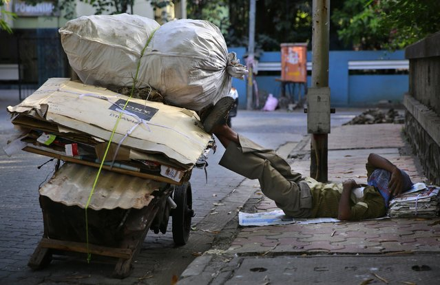 An Indian migrant laborer sleeps on a pavement next his handcart in Mumbai, India, Wednesday, January 21, 2015. Some 800 million people in the country live in poverty, many of them migrating to big cities in search of a livelihood and often ending up on the streets. (Photo by Rafiq Maqbool/AP Photo)