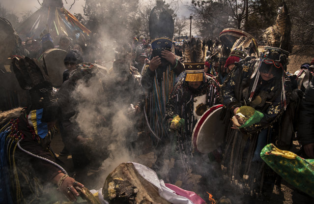 Mongolian Shamans or Buu, and their followers take part in a fire ritual meant to summon spirits at the Mother Tree on April 05, 2018 in Sukhbaatar, Selenge Province, Mongolia. (Photo by Kevin Frayer/Getty Images)