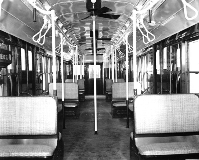 This is an interior view of the new 8th Avenue subway car in New York City, May 1937. (Photo by AP Photo)