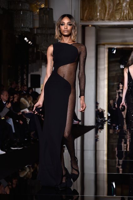 A model walks the runway during the Versace show as part of Paris Fashion Week Haute Couture Spring/Summer 2015 on January 25, 2015 in Paris, France. (Photo by Pascal Le Segretain/Getty Images)