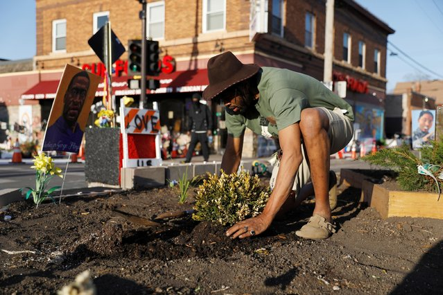 Community organizer Jay Webb works on building a garden at George Floyd Square, after the first week in the trial of Derek Chauvin, who is facing murder charges in the death of George Floyd, in Minneapolis, Minnesota, U.S., April 3, 2021. (Photo by Octavio Jones/Reuters)