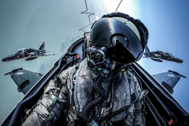 """Selfie"". Image of the year, second prize: Taken while flying in a Hawk T2 as part of a routine training sortie over the coast of Anglesey, Wales. (Photo bu Cpl Tim Laurence RAF/RAF)"