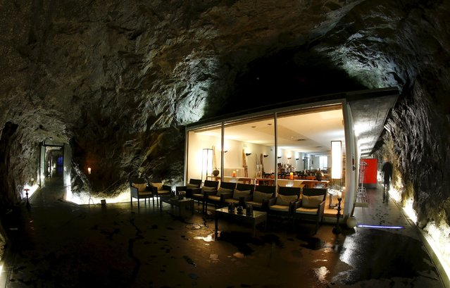 A view shows the restaurant at the Hotel La Claustra in a former Swiss army bunker on the St. Gotthard mountain pass, Switzerland August 8, 2014. With the threat of foreign invasion a thing of the past, thousands of military bunkers and fortresses in Switzerland have been put to commercial use, from hotels to data centres, museums to cheese factories. (Photo by Arnd Wiegmann/Reuters)