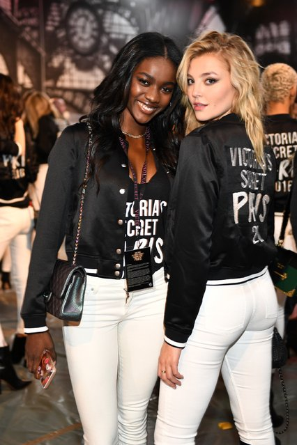 Zuri Tibby and Rachel Hilbert pose at the  Photo Op during 2016 Victoria's Secret Fashion Show on November 28, 2016 in Paris, France. (Photo by Dimitrios Kambouris/Getty Images for Victoria's Secret)