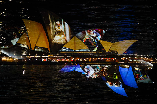 Images of a special six-minute projection showcase onto the sails of the Sydney Opera House on February 25, 2021 in Sydney, Australia. In celebration of the reopening of the Opera House and the re-emergence of the cultural sector, the projections showcase the special memories and personal experiences that have brought people together under the world-famous sails. (Photo by Hanna Lassen/Getty Images)