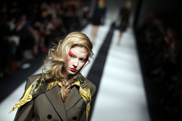 A model wears an outfit by designer Vivienne Westwood, for the Autumn/Winter 2015 show at London Fashion Week, in London, Sunday, February 22,2015. (Photo by Alastair Grant/AP Photo)