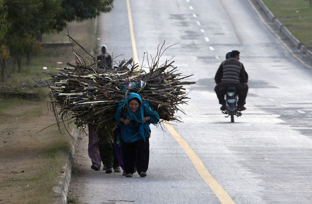 Pakistani women carry wood they have collected to be used as fuel for cooking and heating, in Islamabad, Pakistan, Monday, February 23, 2015. Domestic consumers are facing difficulties with cooking and heating due to a shortage of natural gas. (Photo by B. K. Bangash/AP Photo)
