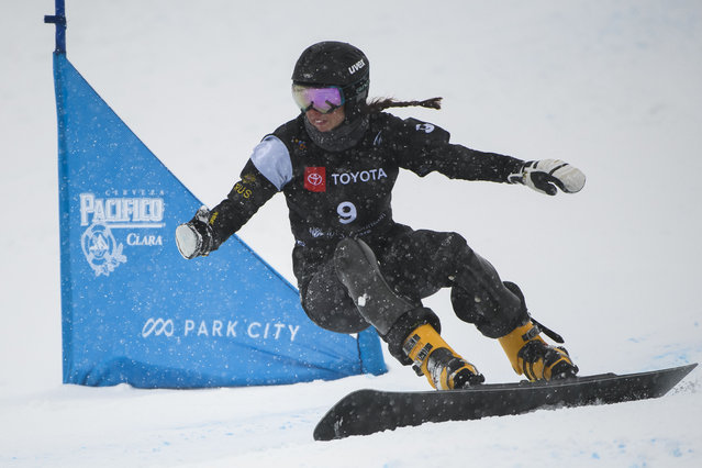 Natalia Soboleva of Russia competes in the women's snowboard parallel giant slalom event at the freestyle ski and snowboard world championships, Monday, February 4, 2019, in Park City, Utah. (Photo by Alex Goodlett/AP Photo)