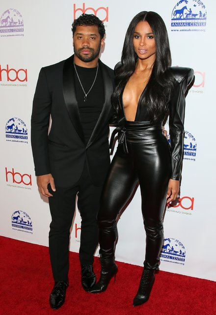 Russell Wilson and Ciara attend the 2019 Hollywood Beauty Awards on February 17, 2019 in Los Angeles, California. (Photo by Jean Baptiste Lacroix/WireImage)