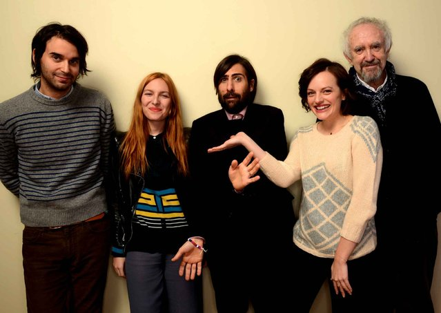 (L-R) Filmmaker Alex Ross Perry, actors Josephine de La Baume, Jason Schwartzman, Elisabeth Moss and Jonathan Pryce pose for a portrait during the 2014 Sundance Film Festival at the Getty Images Portrait Studio at the Village At The Lift on January 20, 2014 in Park City, Utah. (Photo by Larry Busacca/AFP Photo)