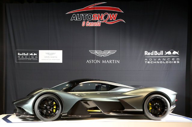 The display model of a AM-RB 001 ahead of the 2017 Canadian International Autoshow where Aston Martin and Red Bull Racing reveal the $3 million Aston Martin AM-RB 001 hypercar in Toronto, Ontario, Canada, February 15, 2017. (Photo by Peter Power/Reuters)