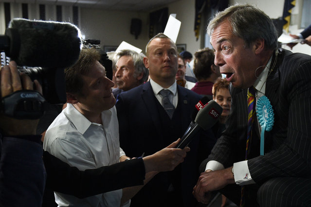 Brexit Party leader Nigel Farage speaks to the media at a European Parliament election campaign event in Pontefract, northwest England, on May 13, 2019. The newly-formed Brexit Party, which wants a clean break from the EU, has doubled its lead over other British parties in an opinion poll out Sunday on the European Parliament elections. Despite voting in a referendum to leave the European Union in 2016 Britain is braced to take part in the European Parliament election on May 23. (Photo by Oli Scarff/AFP Photo)