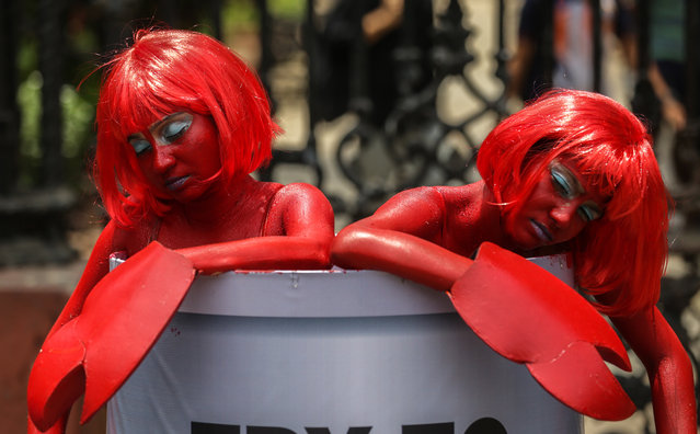 """Activists of the """"People for the Ethical Treatment of Animals"""" (PETA) dressed as Lobster during a campaign in Mumbai, India, 07 June 2019. PETA urges residents to empathize with lobsters and try vegan foods instead. (Photo by Divyakant Solanki/EPA/EFE)"""