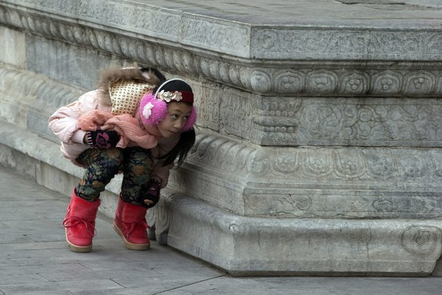 A Chinese girl plays hide and seek with her friends, unseen, at the Forbidden City in Beijing, China, Sunday, January 27, 2013. (Photo by Ng Han Guan/AP Photo)