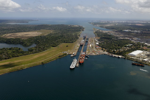 An aerial view of the Gatun locks on the Atlantic side of the Panama Canal is seen during an organised media tour, on the outskirts of Colon City March 23, 2015. (Photo by Carlos Jasso/Reuters)