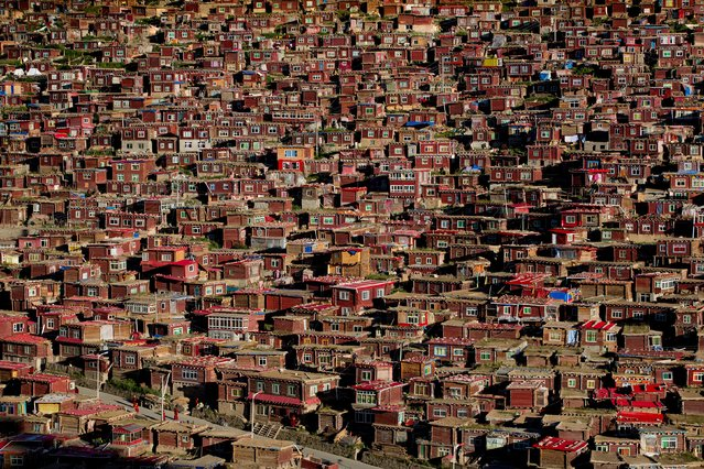 """Larung Gar Buddhist Academy"". Houses for monks and nuns sprawl all over the valley at the Larung Gar Buddhist Academy. Larung Gar is located in the Larung Valley at an elevation of 4,000 meters. It is one of the largest and most influential centers for the study of Tibetan Buddhism in the world. Photo location: Sertar, Sichuan, China. (Photo and caption by Jørgen Johanson/National Geographic Photo Contest)"