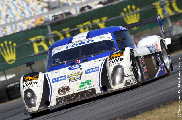 The #6 Michael Shank Racing with Curb - Agajanian - Ford Riley, driven by Michael McDowell; Felipe Nasr; Jorge Goncalvez; Gustavo Yacaman, races during the Rolex 24 at Daytona International Speedway