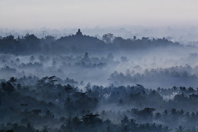A view of Borobudur temple as Indonesian Buddhists prepare for Vesak Day, on May 3, 2012 in Magelang, Indonesia. Buddhists in Indonesia celebrate Vesak at the Borobudur temple annually, which makes it the most visited tourist attraction in Indonesia. (Photo by Ulet Ifansasti/Getty Images)