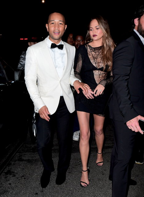 Chrissy Tiger didn't appear to be in the partying mood as she left 1Oak on May 1, 2017. She was joined by her husband John Legend for the appearance at the Met Gala After Party, but she didn't seem to be having fun. The couple left before the majority of the guests even arrived. (Photo by 247PAPS.TV/Splash News and Pictures)