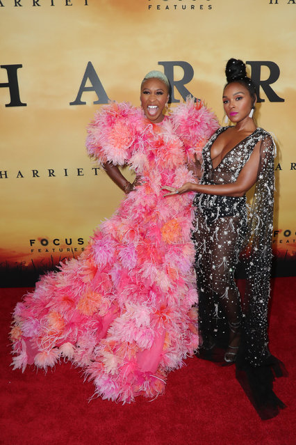 """(L-R) Cynthia Erivo and Janelle Monáettend Premiere Of Focus Features' """"Harriet"""" at The Orpheum Theatre on October 29, 2019 in Los Angeles, California. (Photo by Leon Bennett/WireImage)"""