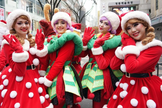 Performers of Everland Amusement Park present the part of Christmas Fantasy in downtown of Myundong in Seoul, South Korea on December 3, 2019. (Photo by Seokyong Lee/Penta Press/Rex Features/Shutterstock)