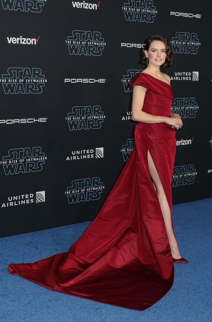 "Brit actress Daisy Ridley arrives at the premiere of Disney's ""Star Wars: The Rise Of The Skywalker"" on December 16, 2019 in Hollywood, California. (Photo by John Salangsang/Rex Features/Shutterstock)"