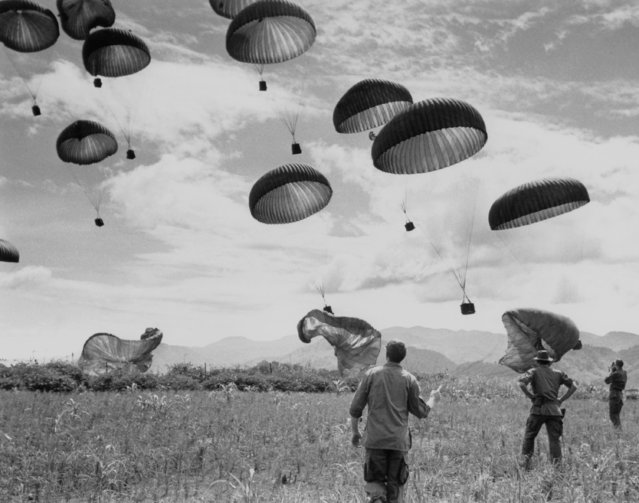 Special Forces Green beret troopers watch ammo cases dangling from parachutes come down into their drop zone. The green berets are manning the Special Forces camp in Dak Seang 320 miles North of Saigon, June 20, 1968. As the landing strip at the camp is not big enough to take the big C-130 transport planes parachute drops are made to avoid helicopters making trips back and forth to Dak to 20 miles away. (Photo by AP Photo/Holloway)
