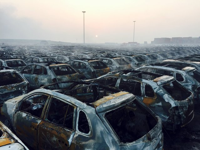 Damaged cars are seen near the site of explosions at the Binhai new district in Tianjin August 13, 2015. (Photo by Reuters/Stringer)
