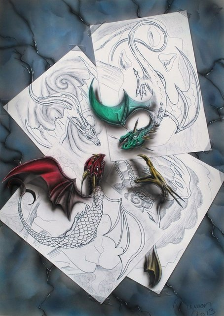 Ramon Bruin's 3D illustration of four dragons fighting each other whilst escaping from the paper they're drawn on. (Photo by Ramon Bruin/Medavia)