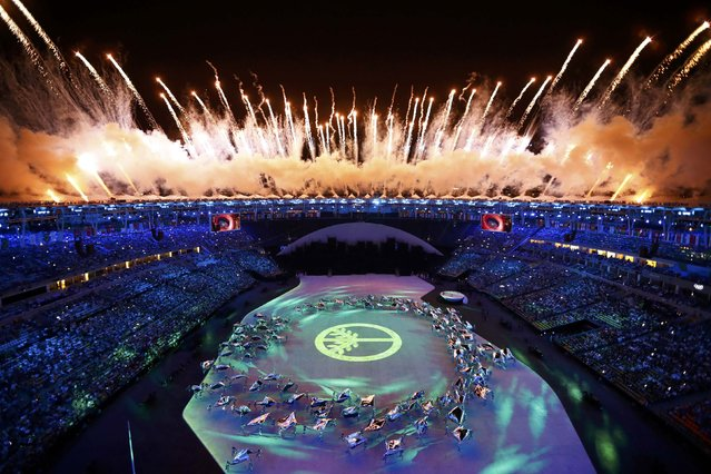 2016 Rio Olympics, Opening ceremony, Maracana, Rio de Janeiro, Brazil on August 5, 2016. Fireworks explode during the opening ceremony. (Photo by Pawel Kopczynski/Reuters)