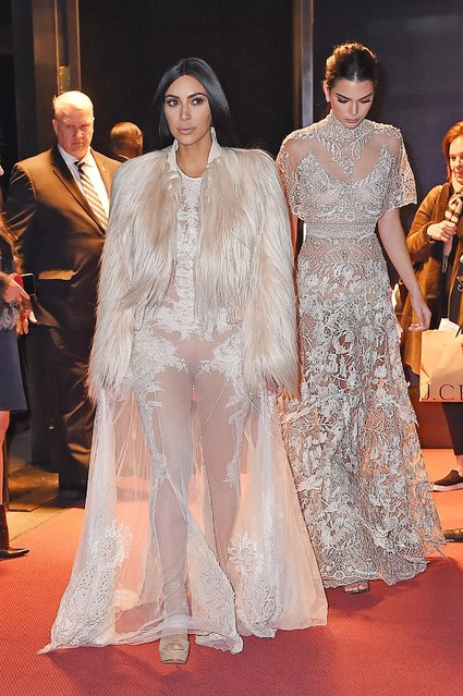 Kim Kardashian and Kendall Jenner are seen on January 16, 2017 in New York City. (Photo by Avalon/GC Images)