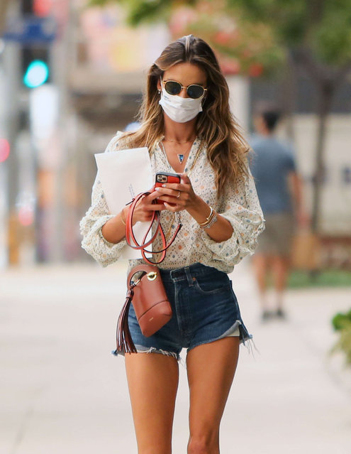 Brazilian model and television personality Alessandra Ambrosio seen with blue jean shorts and a patterned top in Los Angeles, USA on September 21. (Photo by Rex Features/Shutterstock)0, 2020