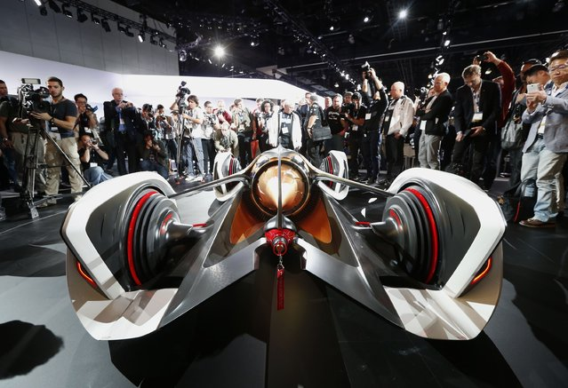 The rear of the Chevorlet Chaparral 2X Vision Gran Turismo concept car at its world debut at the Los Angeles Auto Show in California, November 19, 2014. (Photo by Lucy Nicholson/Reuters)