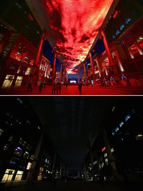 This composite photograph shows a huge LED sky screen before and during the Earth Hour 2013 power switch off at the Central Business District on March 23, 2013 in Beijing, China. Earth Hour, launched in 2007 in Australia by the World Wide Fund for Nature (WWF), a global conservation group, calls on people, organizations and cities to turn off their non-essential lights for one hour starting at 8:30 p.m. local time. (Photo by Feng Li)