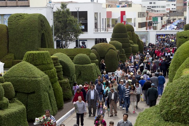 People visit a cemetery known for its topiary art, during the observance of the Day of the Dead, in Tulcan, Ecuador November 2, 2015. (Photo by Guillermo Granja/Reuters)
