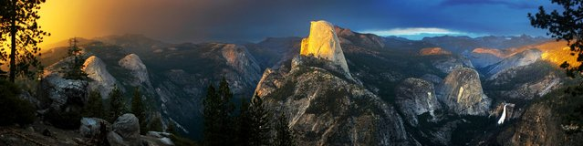 The extraordinary one-of-a-kind sighting was captured by keen photographer Nolan Nitschke, 27, in Yosemite National Park in California. Nitschke knew a storm was approaching the area and that the incredible rocky peaks throughout the park act as lightning rods. After spending hours painstakingly trying for the perfect shot he finally hit the jackpot as the bright lightning crashed through the colourful rainbow lighting up the dark sky. (Photo by Nolan Nitschke/Caters News)