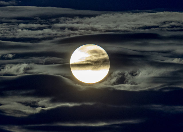The full moon shines surrounded by clouds in the outskirts of Frankfurt, Germany, early Wednesday, September 2, 2020. (Photo by Michael Probst/AP Photo)