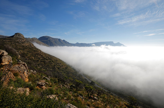 Vehicles drive along the scenic Ou Kaapse Weg as seasonal fog covers the city in Cape Town, South Africa, May 29, 2016. (Photo by Mike Hutchings/Reuters)