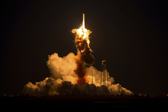 The Orbital Sciences Corporation Antares rocket, with the Cygnus spacecraft onboard, suffers a catastrophic anomaly moments after launch from the Mid-Atlantic Regional Spaceport Pad 0A, at NASA's Wallops Flight Facility in Virginia, October 28, 2014. The Cygnus spacecraft was filled with about 5,000 pounds of supplies slated for the International Space Station, including science experiments, experiment hardware, spare parts, and crew provisions. Image released November 4, 2015. (Photo by Joel Kowsky Reuters/NASA)