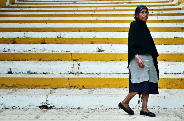 """Woman, San Cristobal de Las Casas"". I saw this native woman when she was climbing the stairs to Guadalupe Chapel in San Cristobal de las Casas, Chiapas, Mexico. I was heading downstairs. Our paths crossed and I turned around to take her picture. At this moment she paid a second of attention to me, then continued her way up. (Photo and caption by Raul Amaru Linares/National Geographic Traveler Photo Contest)"