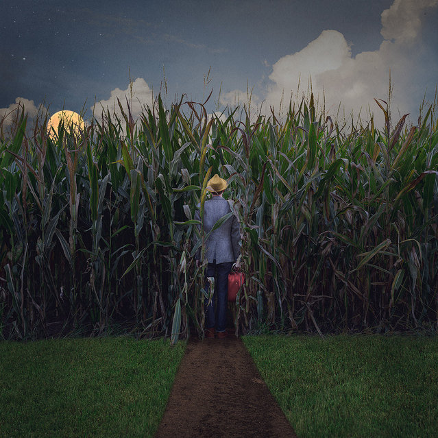 "Photographer Logan Zillmer took this photo of the harvest moon above a corn field as part of his ""Traveler"" series on Flickr. (Photo by Logan Zillmer)"