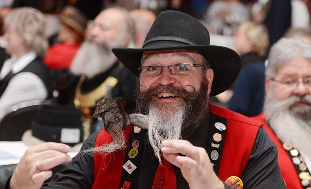"Participant Elmar Weisser competes in the category ""Full Beard Freestyle""  during the World Beard Championships on November 2, 2013 in Leinfelden-Echterdingen, southern Germany. More than 200 competitors from over 20 countries take part in the event. (Photo by Franziska Kraufmann/AFP Photo/DPA)"