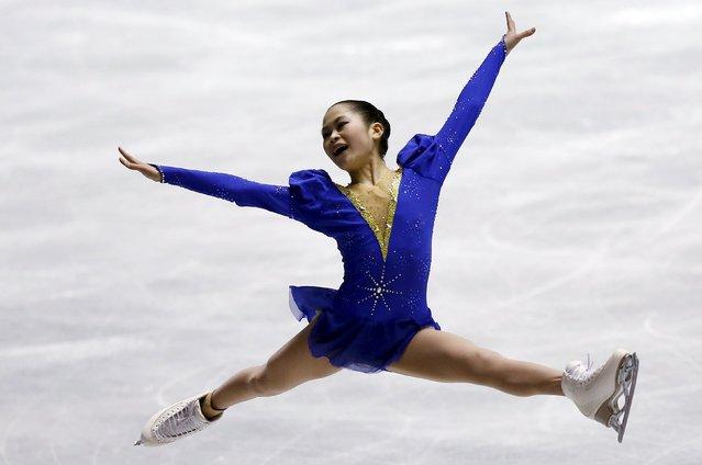 Satoko Miyahara of Japan competes during the ladies' short program at the ISU World Team Trophy in Figure Skating in Tokyo April 16, 2015. (Photo by Yuya Shino/Reuters)